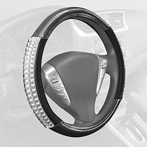 BDK Ultra Gel Carbon Fiber Comfort Grip Steering Wheel Cover (Clear White) Heat & Cold Insulation Orthopedi