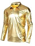 JINIDU Men's Disco Shirt Shiny Metallic Gold Silver Nightclub Style Halloween Costume Party Polo Shirt