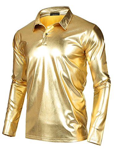 JINIDU Men's Disco Shirt Shiny Metallic Gold Silver Nightclub Style Halloween Costume Party Polo Shirt by JINIDU