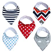 Baby Bandana Drool Bibs for Boys & Girls Unisex 5 Pack Absorbent Cotton Modern Baby Set