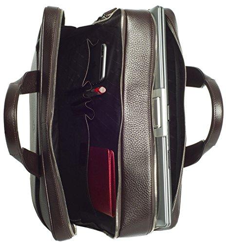 Businesstasche mit zwei Fächern für Akten und einen Laptop bis 15,6 aus hochwertigem Leder (Schwarz) Braun