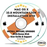 Software : Mac OS X 10.8 Mountain Lion Install Disc Full Bootable Installation & Recovery OSX System & Bonus DVD w/ Software, Guides, & Downloads