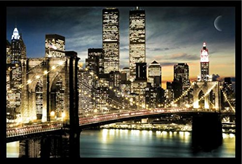 FRAMED Manhattan Lights New York City Skyline 36x24 Art Post