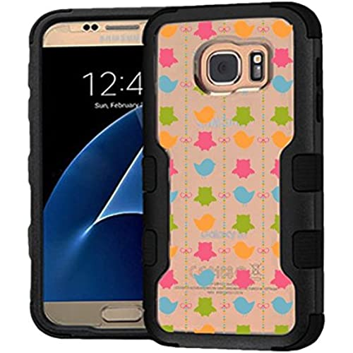 Galaxy S7 Case Colorful Birds, Extra Shock-Absorb Clear back panel + Engineered TPU bumper 3 layer protection for Samsung Galaxy S7 (New 2016) Black Sales