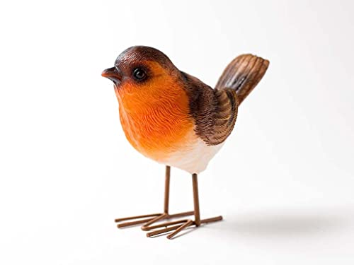 dill and mint Standing robin ornament, ideal for inside or outside use. Weatherproof design by
