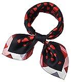 corciova Women 100% Mulberry Silk Neck Scarf Small Square Scarves Neckerchiefs Black Red Love Heart Design