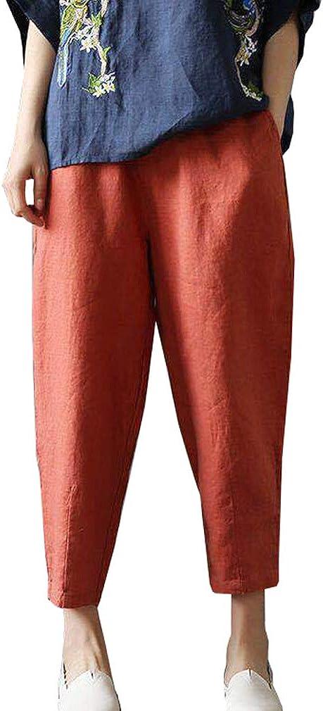 Donna Cotone Lino Pantaloni Harem Sciolto Vita Elastica Pantaloni Casual Estate Boemia Yoga Pantaloni Moda Pantaloni da Spiaggia con Tasca