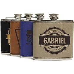Engraved Brown Groomsmen Flasks - Personalized Wedding Favors - Custom Monogram Groomsman Gifts - WPS