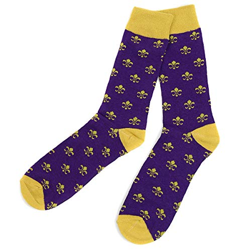Fleur-de-Lis Patterned Cotton Men's Socks]()