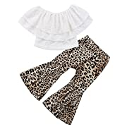 Baby Girls Lace Off Shoulder Crop Tube Top+High Waist Long Leopard Pants Bell Bottom Lrggings Set (Leopard, 1-2Years)