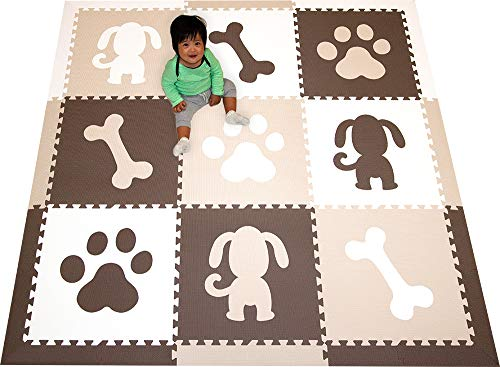 SoftTiles Kids Foam Playmats - Puppy Dog Theme - Children & Baby Nontoxic Floor Tiles for Playrooms/Nursery- 6.5 x 6.5 ft.- Brown, White, Tan SCDOGBWT ()