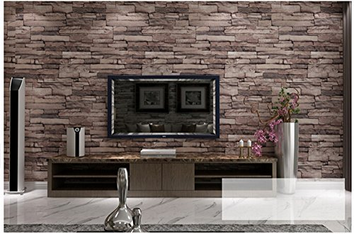 Modern 21 Inch By 394 Inch Stone Texture Pvc Waterproof Brick Wallpaper Wall Decor Wall Murals for Restaurant,Bedroom,Hotel,Living Room,Walls (dark brown)
