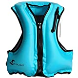 Kids Inflatable Swim Vest Kingswell Children Teens Snorkel Vest Portable Life Jacket Buoyancy Safety Aid Vest for Snorkeling, Diving, Swimming
