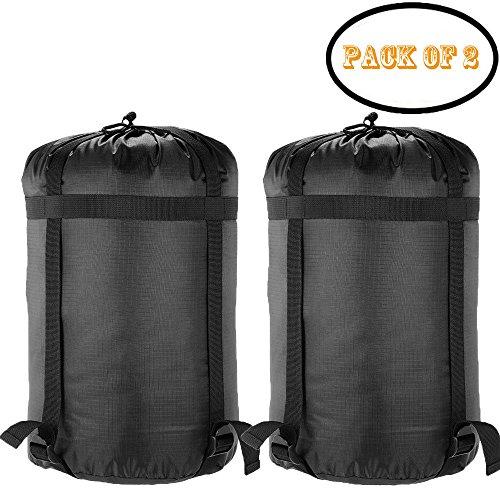 Borogo Compression Stuff Sack, 2-Pack Stuff Sack Compression Sleeping Bag Storage Stuff Sack Organizer - Great Sleeping Bags Clothes Camping Hiking Backpacking