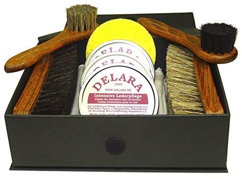 DELARA Kit Exclusif de Cirage à Chaussures, composé de 9 pièces dans Un Coffret Noir avec Lettres d'or 1