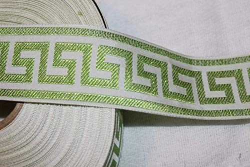 $1.50 Yard Lime Green White Greek Key Jacquard Woven Sewing Ribbon Trim 1.5''