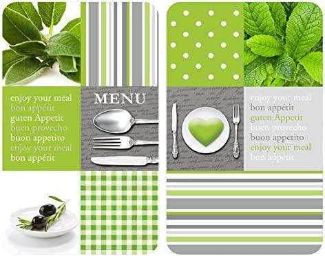 WENKO 2521449100 Cubre vitro de cocina Universal Menu - juego de 2 piezas para todos los tipos de cocinas, Vidrio endurecido, 30 x 1.8-4.5 x 52 cm, ...