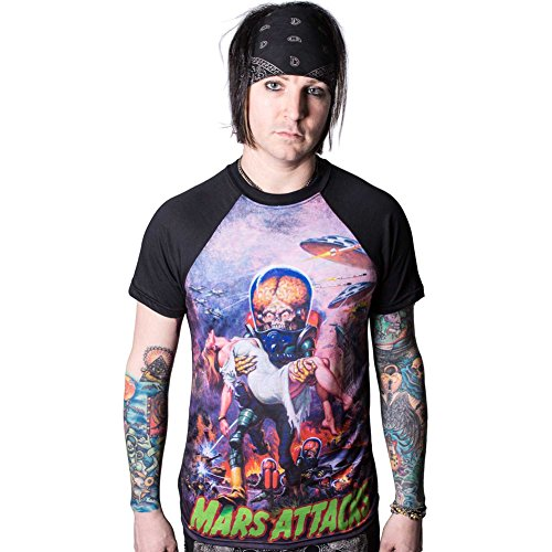 Men's Kreepsville 666 Mars Attacks B Movie Babe Raglan T-Shirt XL