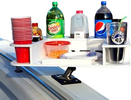 Docktail Butler Marine Food and Cocktail Table - Includes Adjustable Folding Rod Holder Mount - Large Serving Tray for Grill - Boat Cup and Bottle Holder - Boating Accessories Storage - Cockpit Dining