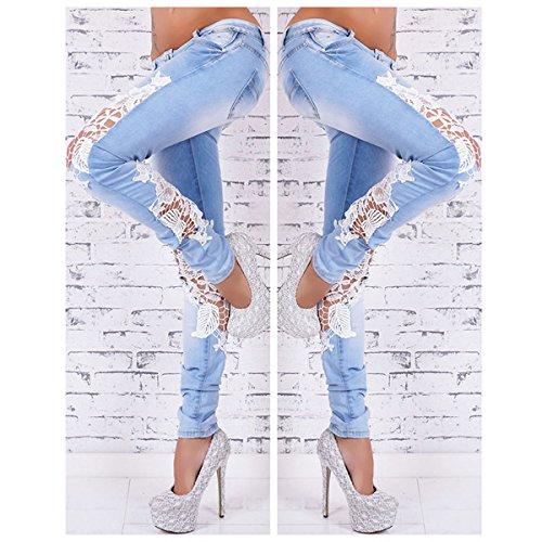Stretto Patchwork Lanmworn Ghette Casuale Matita Floreale A afflitto Di Pizzo Magro Azzurro Pantaloni Denim Blu In Moda Strappati Donne Jeans ZrwZTxqO4