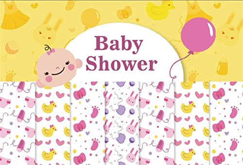 CSFOTO 8x6ft Background for Sweet Girl Baby Shower Photography Backdrop Cute Chick Nipple Pregnancy Announcement Gender Reveal Party Celebrate Newborn Infant Photo Studio Props Vinyl Wallpaper (Album Photo Digital 8')