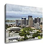Ashley Canvas, State Capitol Honolulu Skyline Downtown Hawaii And Harbor, Home Decoration Office, Ready to Hang, 20x25, AG6406039