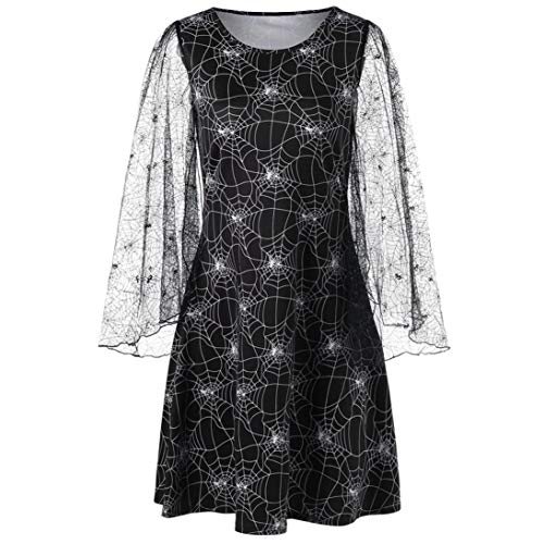 GREFER Women Halloween Costume Loose Party Cobweb Print Yarn Long Sleeves Mini Dresses