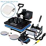 XFMT 5 in 1 Heat Press Machine 12x15'' T-Shirt Heat Press Transfer Combo Swing-Away Presser Mug Hat Press Digital Multifunction Transfer (100x A4 Transfer Paper Compatible with Free)