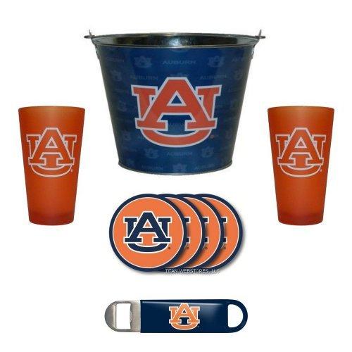 NCAA Auburn - Tonal Wrap Beer Pail, Color Frost Pint Glasses (2), Coasters (4) & Bottle Opener Set | Auburn Tigers Beer Bucket Gift Set