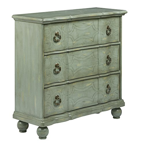 Madison Park Scroll Storage Chest - Hardwood Living Room Storage - Antique Blue Green, Vintage Rustic Style Dresser Chest - 1 Piece 3 Drawer Chest For Bedroom ()