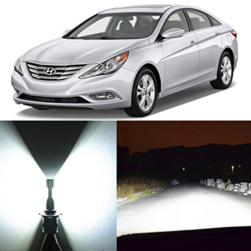 Alla Lighting 2x Super Bright White H7 LED Headlight Bulbs for High Beam Headlamp Conversion Kits for 1999 2000 2001 2011 2012 2013 2014 Hyundai Sonata / Low Beam Headlamp for 2002~2008 Sonata
