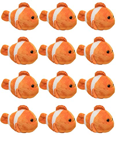 "Wildlife Tree 12 Pack Clownfish Mini 4"" Small Stuffed Animals, Bulk Bundle Ocean Animal Toys, Sea Party Favors for Kids"
