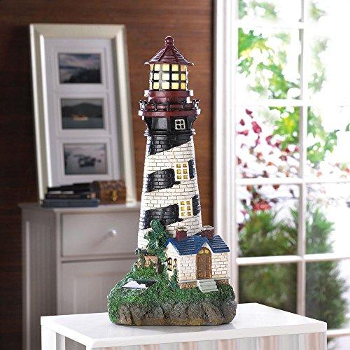 Garden Décor 35719 Nautical Beach Lawn Garden Statue Home Decor Solar-Powered Lighthouse, Multicolor