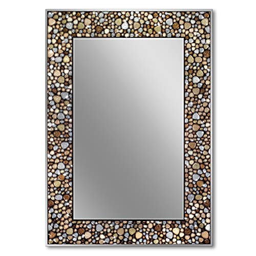 Head West Frameless Pebble Glass Mosaic Rectangle, 22 inches by 32 inches Wall Mirror, Multi