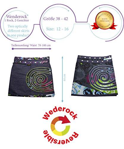 Sunsa Damen Rock Jeansrock Sommerrock Wickelrock Minirock Wenderock, 2 in 1, verstellbare Größe 15636