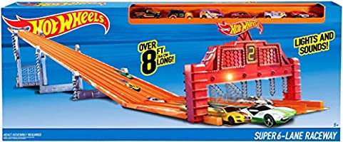 Hot Wheels Mattel V1983 Pista de Carreras con 6 carriles: Amazon ...