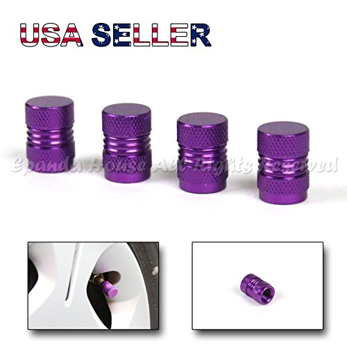 Painted Stem (4X USA Highly Pressurized Anodized PURPLE Painted Aluminum Metal Wheel Tire Valve Stem Caps Upgrade)