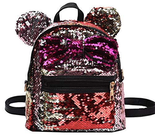 Women Girl's Sequin Backpack Cute Mini Fashion Backpack Ears Bowknot Shoulder School Bag (Gold)