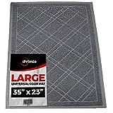 "Universal Door Mat - Plaid (Size 35""x 24"") - Loop Mesh Catches Dirt and Debris - Plaid Design - Phthalate & BPA Free. Entrance Mat. Doormat. Low Profile. Front Door Mat. Inside / Outside (Dark Gray)"