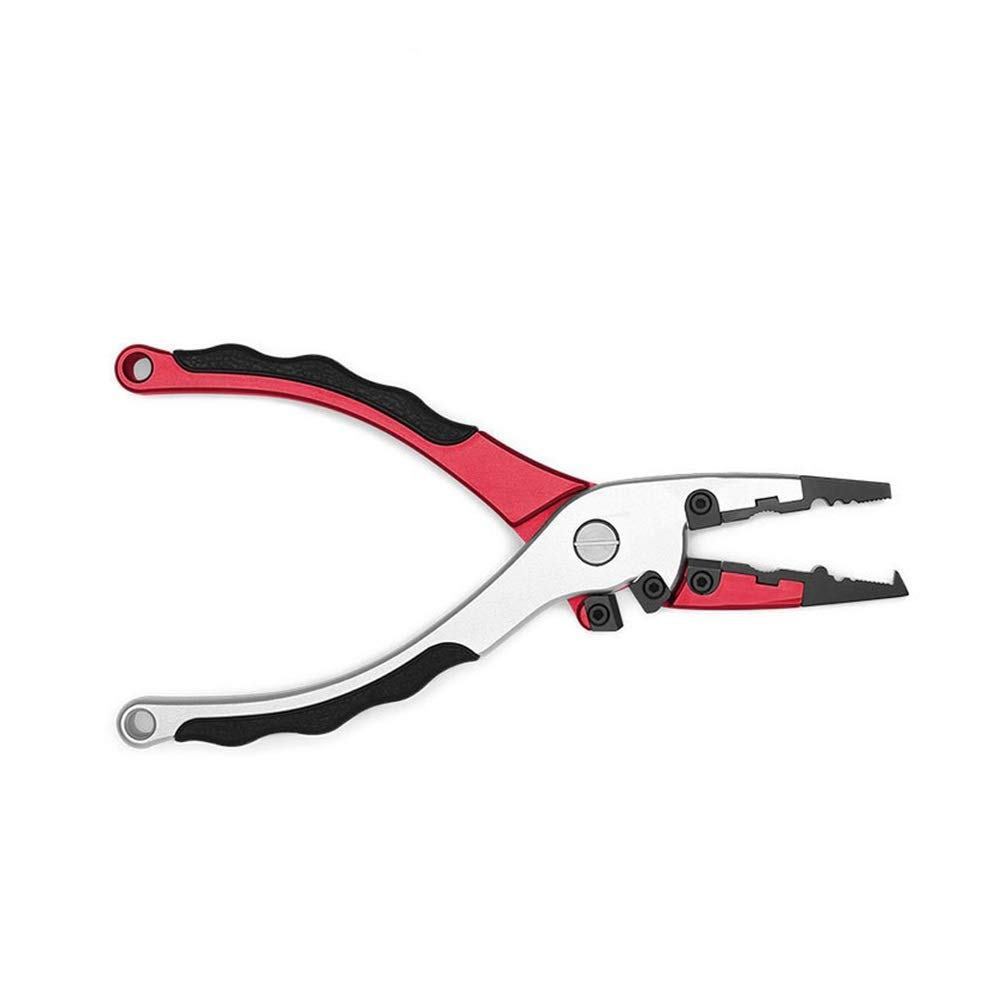 YOZOOE Multi-Function Aluminum Alloy,Double-Blade Fishing Plier, Professional Curved Mouth Wire Cutters Fishing Gear (Color : Red) by YOZOOE