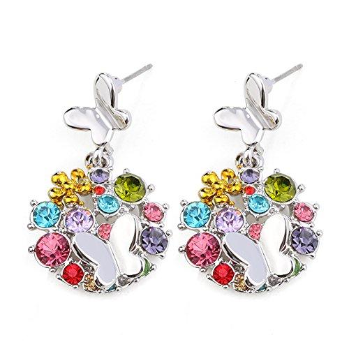 (Crystals Multi-stone Round Disc cut Pendant Stud Earrings)