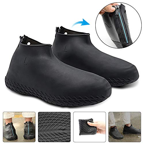 Silicone Shoe Cover Waterproof, Reusable Boot Shoes Covers with Zipper,Non Slip Rain Snow Bowling Travel Indoor Outdoor Overshoe Rubber Protectors for Men Women Kids Protection-1 Pair-Black,XL (Salt Resistant Water Metal)