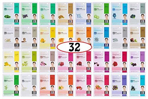 Dermal Korea Collagen Essence Full Face Facial Mask Sheet A+B Full Color SET (Best Cheap Face Mask Uk)