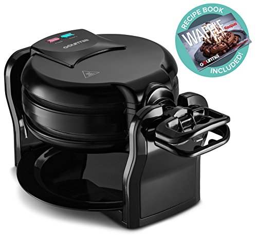 Gourmia GWM490 Belgian Waffle Maker - Double Waffles - Extra Deep - Fast & Easy - 180 Degree Flipping - Brushed Stainless Steel - Nonstick Plates - Black - Free Recipe Book (Double)