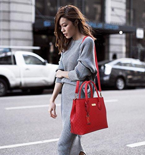 Dexinx Damen Attraktiv Leder Handtasche Einfarbig Umhängetasche Beliebt Brieftasche Ein Satz von 6 Stücken Rot okTT8