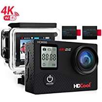 HDCool Action Cam 4K Full HD 16MP Action Camera Waterproof Schermo LCD 2.0 Pollici con Schermata Anteriore a 0.66 Pollici Wifi Sports Camera 170 ° Super Grandangolo, 2 Batterie Ricaricabili 1050mAh