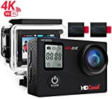 HDCool HC8000 Action Camera 16MP 1080P WiFi Waterproof Sports Camera 2.0 Inch LCD Display 170° Ultra Wide-Angle Lens Include 2 Rechargeable 1050 mAh Batteries