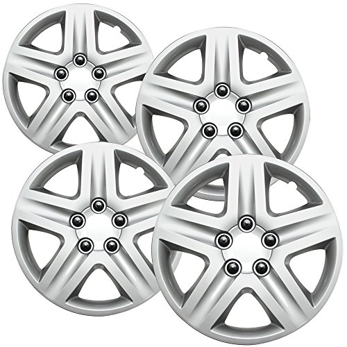 16 inch Hubcaps Best for 2006-2013 Chevrolet Impala - (Set of 4) Wheel Covers 16in Hub Caps Silver Rim Cover - Car Accessories for 16 inch Wheels - Snap On Hubcap, Auto Tire Replacement Exterior Cap)