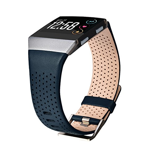 - CAGOS Compatible Fitbit Ionic Band Breathable Genuine Leather Band Strap Replacement Accessories Wristband for Fitbit Ionic Women Men(Large, Dark Blue)
