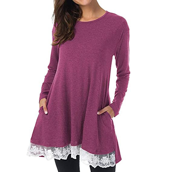 dbfccd02800b HARRYSTORE Women Casual Long Blouse O-Neck Long Sleeve Loose Lace Hem Tops  Tunic Swing T-Shirt Dress with Pockets  Amazon.co.uk  Clothing